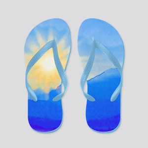 Watercolor Sunrise Flip Flops